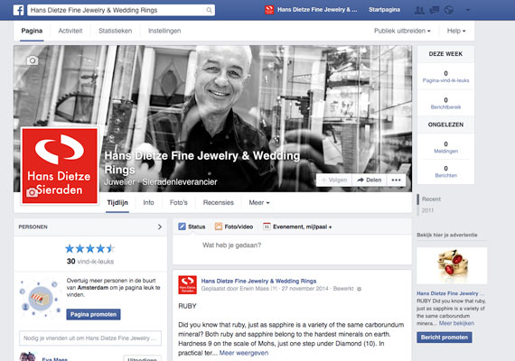 Maintenance of 3 Facebook pages for HANS DIETZE, including frequent posts, ad campaign.