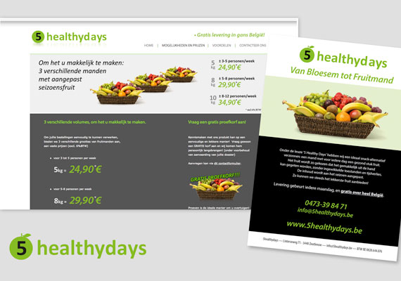5 Healthy Days, logo design, branding, flyers layout and webdesign.