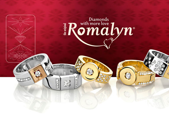 ROMALYN Jewellery advertising, catalogiue and banner design for Inhorghenta Munich.